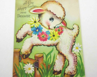 Vintage Easter Greeting Card with Cute Lamb by Fence by The Pollyanna Line