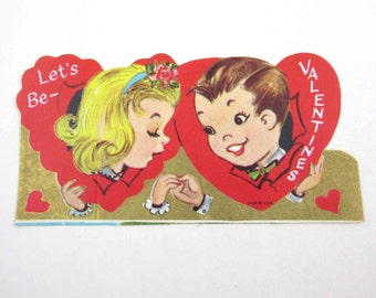 Vintage Unused Children's Novelty Valentine Greeting Card with Little Blonde Girl and Cute Boy in Red Hearts Gold Accents
