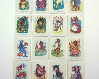 Miniature Vintage Donkey Playing Cards for Children Set of 16