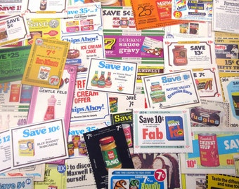 Vintage Grocery Coupon Ephemera Pack Set of 73