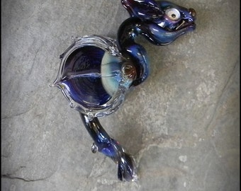 Lampwork Garden Dragon Bead - Purple and Blue Boro - Artisan Bead or Sculpture by Hannah Rosner
