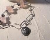Pink Quartz Fine Silver Sterling Silver Lotus Blossom  Bracelet