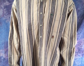 Vintage Tommy Hilfiger xl tan and black dress shirt