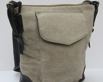 Waxed Linen and Leather SHOULDER SATCHEL  Rugged Style