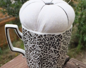 Sewing Gift Black and White Teacup Pincushion Mug Pin Cushion Sewing Accessories Pin Holder Mid Century Decor Black White Decor
