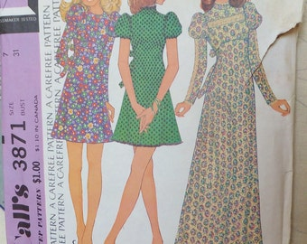 Vintage 1970's Puff Sleeve Dress Pattern Junior Size 7 Vintage McCall's 3871 Bust 31 Uncut Empire Waist Long Dress 1970's Victorian Revival