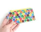 polka dot credit card holder zipper pouch. fabric change purse inhaler lipstick case. small teacher gift idea