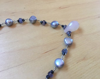 Insouciant Studios Gris Necklace Natural Pearl Spinel and Iolite