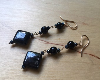 Insouciant Studios Darkness  Earrings Hypersthene Jet Spinel