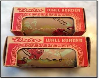 2 Rolls of Vintage Duro Wallpaper Border ~ Sports Theme - Golf, Tennis, Polo and Baseball