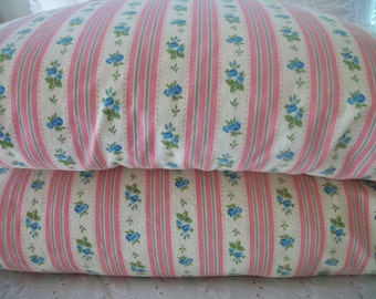 vintage pair floral ticking stripe pillow cases, pink stripes with roses, zippered pillow slip pair, standard size, all cotton, cottage chic