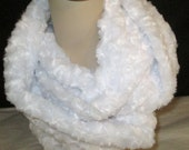 FREE SHIP USA Infinity Scarf White  Minky Wraps Twice Winter Scarf Circle Scarf Faux Fur Scarf