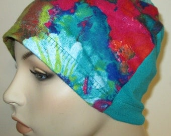 Teal Floral  Chemo Cap Flannel Sleep Cap, Cancer Hat, Hair Loss, Alopecia, Made in USA, Free Ship