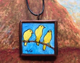 Dogs Painting. Yellow birds Painting, Miniature Painting,   Bronze locket, Glass Locket.