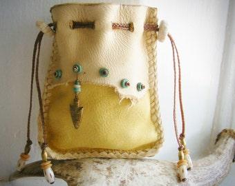 ARROWHEAD Medicine Bag, Deerskin Leather, DEER ANTLER, turquoise, antique brass, Shaman bag pouch, Spirit Pouch, tribal primitive Southwest