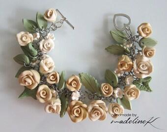 Rose Garden Bracelet, Handmade Polymer Clay Rose Bracelet, Shabby Chic Flower Bracelet, Rose Jewelry, Wedding Charm Bracelet