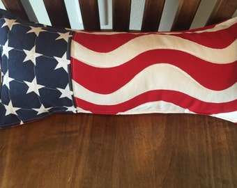 "Americana 4th of July Stars and Stripes pieced pillow 16""X7"" red white and blue patriotic with quilted front"