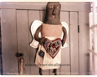 Handmade Primitive Folk Art Angel Doll With Hooked Heart Valentine