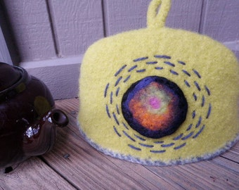 Lemongrass Maze Swirl Teapot Cozy, Cosy, Knitted, Felted, Lined, Embroidered