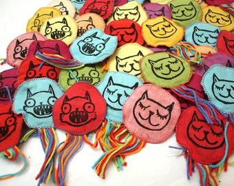 TWO Cat Toys w/ Organic Cat Nip Handmade Block Printed Surprise Pack!