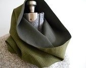Wool plaid cowl, hood snood, oversized, two tone olive drab - men unisex - eco vintage fabrics
