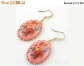 ON SALE Vintage Pink Floral Cameo Earrings