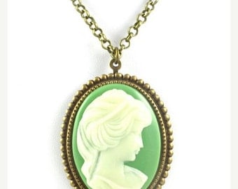 Cameo Necklace, Green and Brass Cameo Necklace,Vintage Green and Brass Cameo Necklace