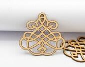 4pcs laser cut wooden geometric charm pendant wood cut (WB 124)