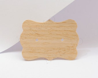 90 pcs Wooden - Kraft Paper Earrings Cards, Display Card,Packaging,Blank Design  (PC041A)