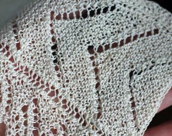 HANDMADE - LACE - knitted wide lace - beautiful - 2 patterns