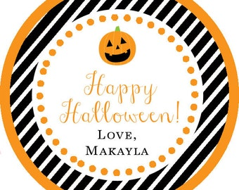 Happy Halloween black orange pumpkin Thank You PERSONALIZED Stickers, Tags, Labels, or Cupcake Toppers, various sizes, printed & shipped