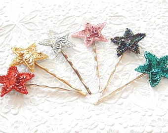 2 star hairpins, gold star hairpins, black star hairpins, pink star hairpins, aqua star hairpins, silver star hairpins, red star hairpins