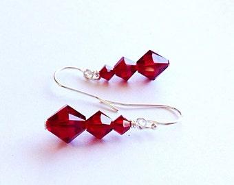 Red crystal earrings - 3rd - 15th - anniversary gift-  crystal earrings - black friday sale- cyber monday  - July birthstone - ruby earrings
