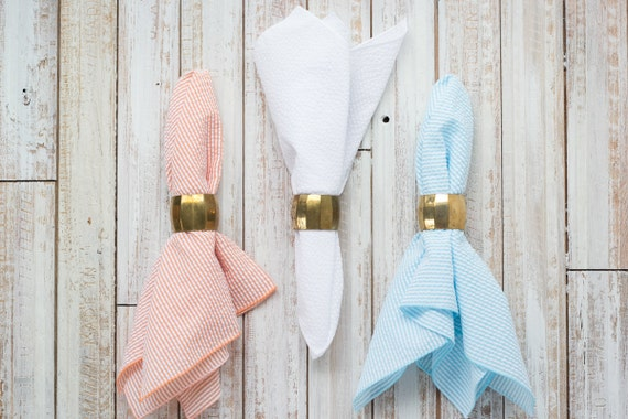 Orange, Aqua and White Seersucker, set of 12,  Cloth Napkins by Dot and Army