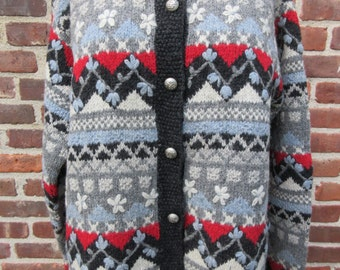 vintage Sweater chunky knit cardigan Squaw Valley top warm Wool sweater knit knitted Coat Nordic Bohemian Winter Top Button Front jacket
