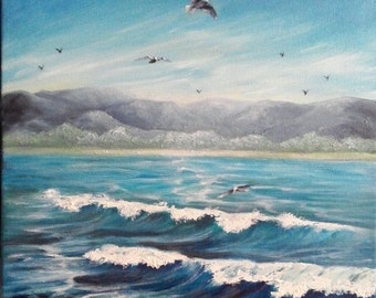 "Oil Painting Ocean Waves Seagulls Mountains Seascape 12"" x 12"" READY to SHIP"