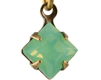 Green Opal Faceted Square Glass Stones 1 Loop Brass Ox Setting 6mm (8) squ014PP