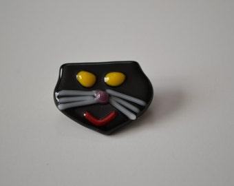 Cat Head Pin Brooch Accessory Ornament , Cat Sweater Pin, Cat Woman, Cat Club