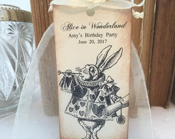 White Rabbit Favor Bags White Rabbit Party Bags Set of 10 Alice Birthday Alice Bridal Shower