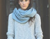 Thick and chunky infinity scarf cowl inspired Yukon Collection Open Blue Sky textured by maris rae handbags