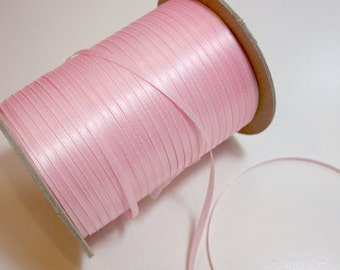 Light Pink Ribbon, Double-Faced Baby Pink Satin Ribbon 1/8 inch wide x 10 yards