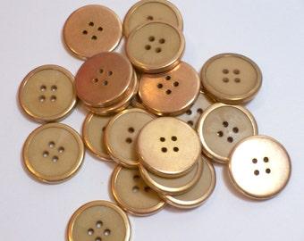 Copper Buttons, Coppertone Metal Edge Plastic Core Buttons 7/8 inch diameter x 20 pieces, 4 Hole Buttons