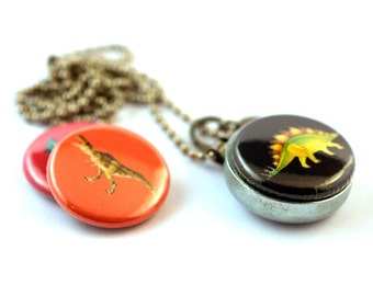 Dinosaur Necklace, 3 in 1 Magnetic Locket Necklace, Gift for Dinosaur Lover, Custom Stamped Initial