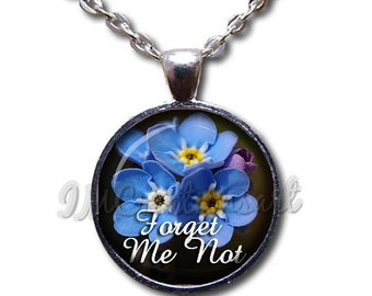 SALE - Forget Me Not Flowers Glass Dome Pendant or with Chain Link Necklace NT139