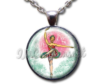 Nutcracker Plum Fairy - Round Glass Dome Pendant or with Necklace by IMCreations -   BA106