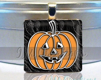 60% OFF CLEARANCE Scrabble tile pendant necklace - Halloween Midnight Pumpkin (HAL108)