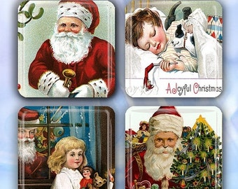 """60% OFF CLEARANCE Victorian Christmas Eve - Set of 4 Glass Tile Magnets 1"""" square CSM108"""