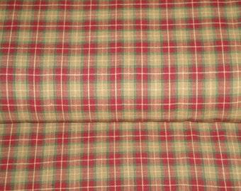 Cotton Homespun Material | Wine And Green Medium Plaid | 1 Yard