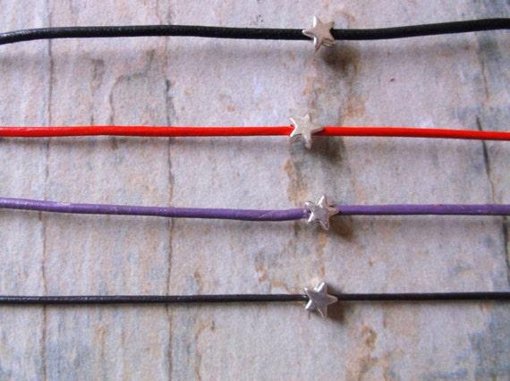 Minimal Silver Star and Leather Friendship Bracelet. Stacking bracelet anklet
