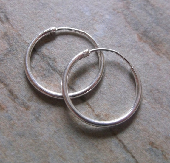 Mens Small 16mm Sterling Silver Hoop Earrings, 1.25mm thick